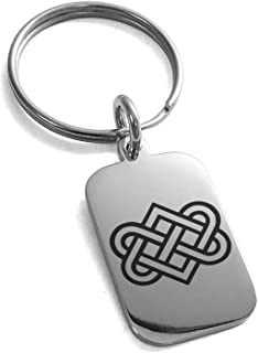 Stainless Steel Irish Heart Love Knot Small Rectangle Dog Tag Charm Keychain Keyring