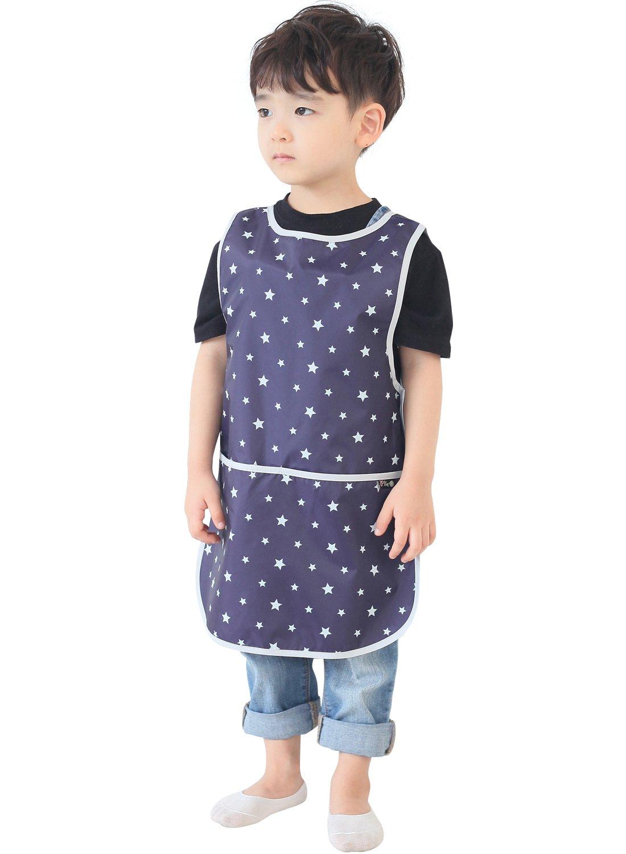 Plie Children Waterproof Sleeveless Art Smock Apron with Pockets Pink Heart Dot 27-L