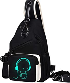 Shoulder Bags Men's Outdoor Crossbody Bag Sports Bag with USB Charging Port Wallet with Headphone Jack Fluorescent Chest Bag