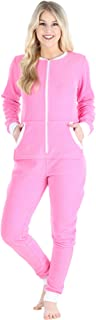 Women's Fleece Non-Footed Solid Color Onesie Pajamas Jumpsuit