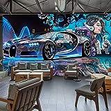 Msrahves fotomurales decorativos pared 3d modernos Graffiti coche deportivo niña creativo 200X100CM Fotomurales 3D Pintura Óleo Fotográfico Mural Papel Pintado Fotomurales Salón Dormitorio Decoración