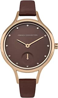 French Connection Women's Quartz Analog Brown Dial Watch for Women with Rose Gold Case and Brown Leather Strap analog Display and Leather Strap, FC1274TRG