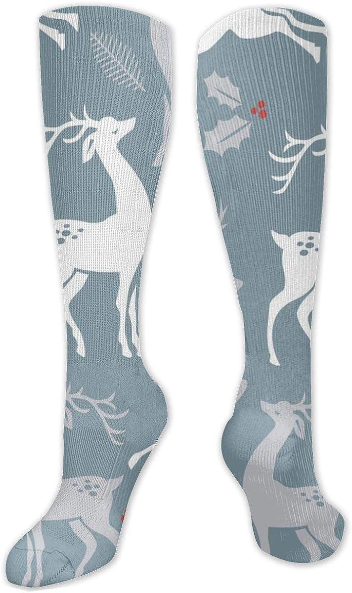 White Gray Christmas Deer Knee High Socks Leg Warmer Dresses Long Boot Stockings For Womens Cosplay Daily Wear