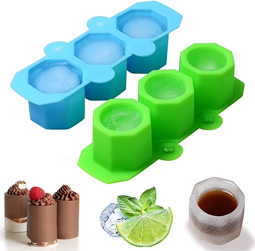 Silicone Large Ice Cube Molds 2 Pack Ice Shot Glass Mold 3 Cup DIY Plant Flower Pot Mold Resin Casting Mold Edible Shots And Cup Maker