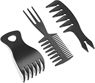 3 Pieces Hair Stylists Styling Comb Set, Includes Texturizing Comb Tri-Comb Double Side Brushes Hair Pick Wide Tooth Hair ...