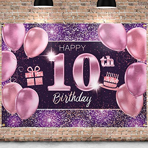 PAKBOOM Happy 10th Birthday Banner Backdrop - 10 Birthday Party Decorations Supplies for Girls - Pink Purple Gold 4 x 6ft