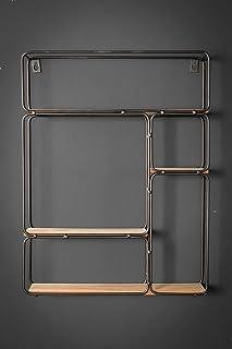 ShowTop Wooden & Black Metal Modern Iron Mounted Shelves Rectangle Wall Shelf Unit Decorative Hanging Shelves,Pre-assemble...