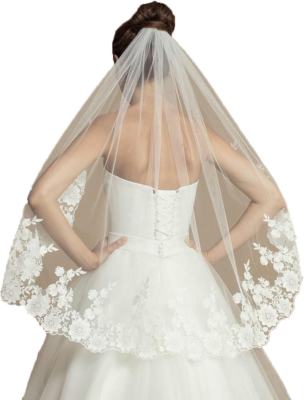 1T Fingertip Length Gorgeous Lace Cathedral Veil Bridal Veil Applique Veil Women's Veil with Comb Tulle Veil for Wedding