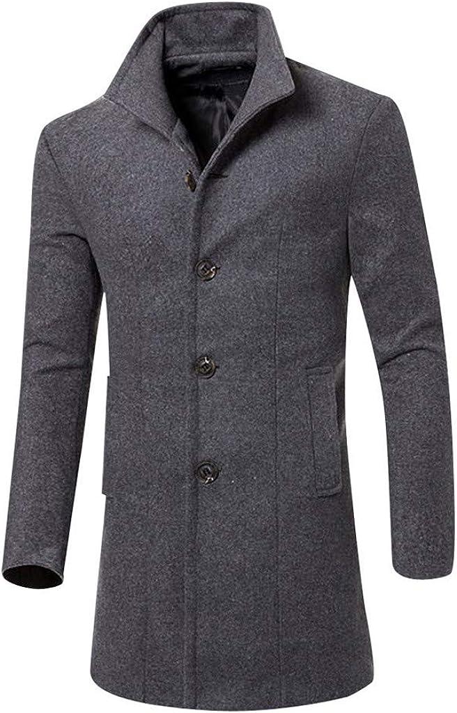 NREALY Men Jacket Warm Winter Trench Long Outwear Button Smart Overcoat