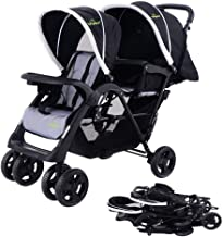 Safeplus Foldable Twin Baby Double Stroller Kids Jogger Travel Infant Pushchair Black