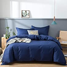 Sweet Linen 100% Cotton Queen 3 Piece Duvet Cover Set 1 Duvet Cover 2 Pillow Shams with Corner Ties Zipper Closure Soft Hotel Luxury Bedding Set Navy Blue