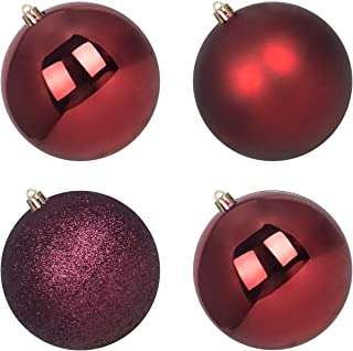 """Best GameXcel Christmas Balls Ornaments for Xmas Tree - Shatterproof Christmas Tree Decorations Large Hanging Ball Wine Red 4.0"""" x 4 Pack Reviews"""