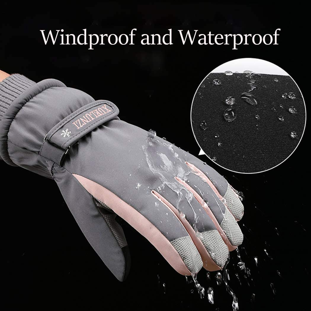 Campsis Winter Warm Gloves Touch screen Thermal Soft Lining Elastic Texting Anti-slip Gloves Waterpoor Outdoor Cycling Skiing Running Wool Gloves for Women and Girls
