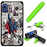 Hybrid Rugged Hard Cover Case Compatible with Galaxy [A10E] - Comics Superman Cartoon (with Free Phone Stand Gift!)