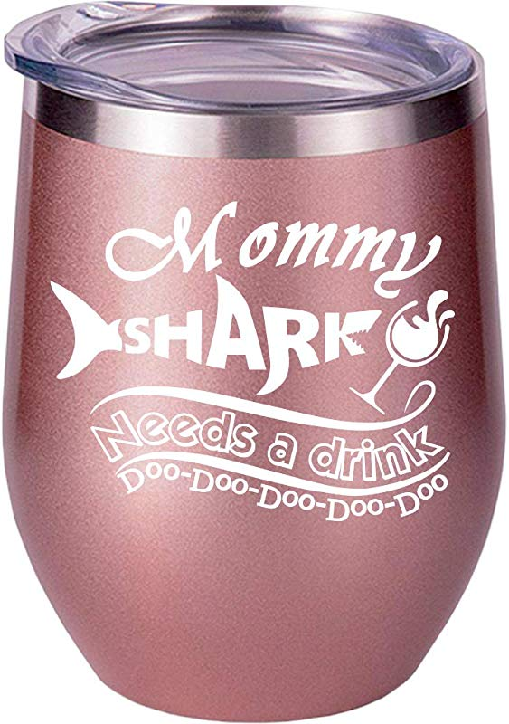 Gifts For Mom Mom Gifts From Daughter Son Husband Christmas Gifts For Mom Mommy Shark Best Funny Wine Glass