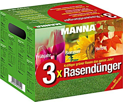 Manna 3x Rasendünger - 3 x 3 kg für das gesamte Jahr - Startdünger Frühjahr Sommer Herbst Rasen Dünger