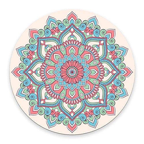 Alfombrilla de ratón con diseño de Mandalas, estilo vintage, diseño de cachemira india con patrón de mandala étnica, redonda, antideslizante, alfombrilla de ratón de goma
