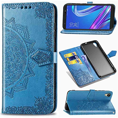 Ycloud Portafoglio Custodia per ASUS ZenFone Live (L1) ZA550KL Smartphone, PU Pelle Magnetica Flip Caso con Fessura Carte e Staffa Design Stampata Mandala Modello (Blu)