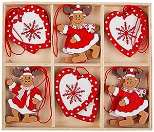 Süßer Christbaumschmuck aus Holz in einer Box – 12 Anhänger