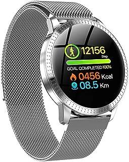 AIFB Pulsómetros Smartwatch, Impermeable Podómetro Monitor de sueño Contador de calorias pulsioxímetro Monitores de Actividad para Android iOS Phone,Silver-OneSize