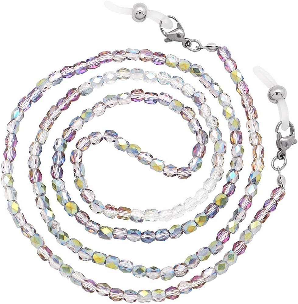 XJJZS 15 Colors Crystal Colored Beaded Glasses Chains for Women Lanyard Anti Slip Reading Eyeglass Sunglasses Strap Cord (Color : M)