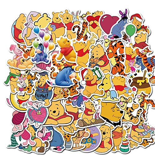 ZXUAN Animato Winnie The Pooh Cute Line Emoji Bag Valigia Adesivi Impermeabili 50 Fogli