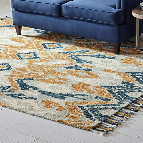 Brown and blue wool area rug