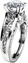 Lethez Crystal Wedding Ring for Women, Vintage Diamond Rhinestone Floral Ring Engagement Band Jewelry