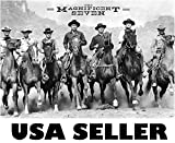 Magnificent Seven horiz b&w POSTER 34.5 x 23 Charles Bronson Yul Brynner Steve McQueen James Coburn the 1960 western 7 movie (sent FROM USA in PVC pipe)