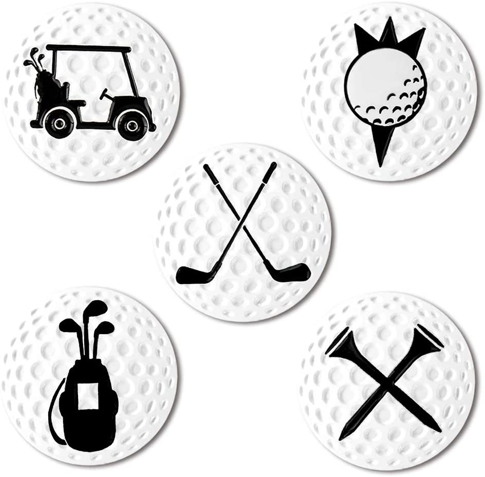 Myartte Creative Golf Ball Marker Soft Enamel Golf Markers 24.4MM Assorted 5 Pcs (Golf Club) : Sports & Outdoors