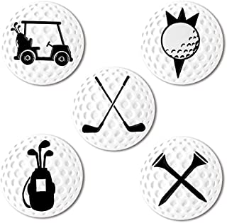 Myartte Creative Golf Ball Marker Soft Enamel Golf Markers Fit with Golf Hat Clip Golf Divot Tool 24.4MM Assorted 5 Pcs