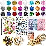 Juego de 68 accesorios de resina epoxi con purpurina, lentejuelas, flores secas, pegatinas de mariposas, lámina de oro, conchas marinas, engranajes, para manualidades de resina y decoración de uñas