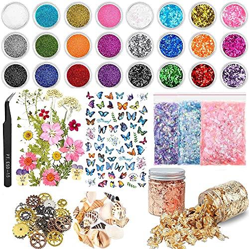KKSJK Confezione da 68 accessori in resina epossidica con glitter, paillettes, fiori secchi, adesivi, lamina d'oro, conchiglie, ingranaggi, per artigianato in resina e decorazioni per nail art