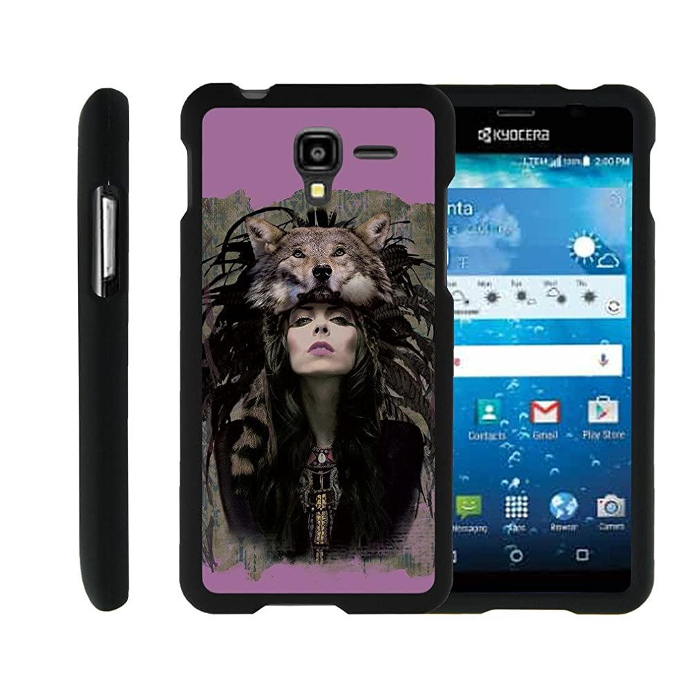 Kyocera Hydro View Case | Hydro Reach Case | Hydro Shore Case [Slim Duo] Ultra Slim Lightweight Hard 2 Piece Cover Protector Cool Design on Black by TurtleArmor - Wolf Woman