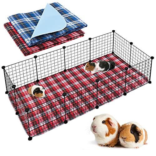 """Geegoods Guinea Pig Cage Liners Guinea Pig Bedding Washable &Air Dried Pee Pads for Guinea Pig Fast Absorbent Waterproof Reduce Shrinkage Non-Slip (24""""x 48""""x2)"""