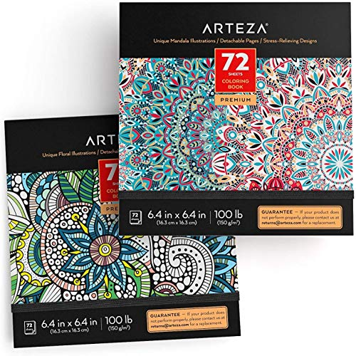 ARTEZA Coloring Books for Adults, Floral & Mandala Designs, 2, 144 Sheets Total, 100 lb, 6.4x6.4 Inches, for Anxiety, Stress Relief & Relaxing, Detachable Pages