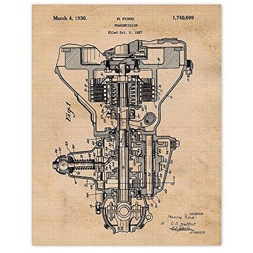 Vintage Henry Ford Transmission Patent Poster Prints, Set of 1 (11x14) Unframed Photo, Wall Art Decor Gifts Under 15 for Home Office Man Cave, College Student Teacher, Shelby Mustang Cars & Coffee Fan