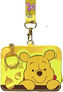 Winnie The Pooh PU Leather Wallet ID Credit Card Holder Cash Coin Purse Pouch Lanyard w/Keychain