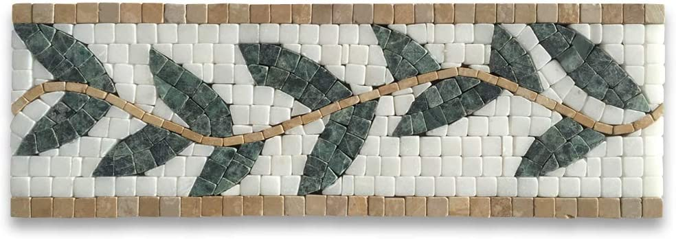 Stone Center Online Olive Branch Mosaic Green Border Marble 4x12 Special sale Ranking TOP2 item