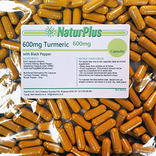 Turmeric Capsules high Strength with Black Pepper 600mg, 365 Capsules by NaturPlus