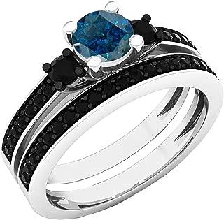 5 MM Round Gemstone & Black Diamond Bridal 3 Stone Engagement Ring Set, Sterling Silver