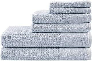 Madison Park Spa 6 Piece Waffle Cotton Jacquard Towels Set, 28x54, Blue