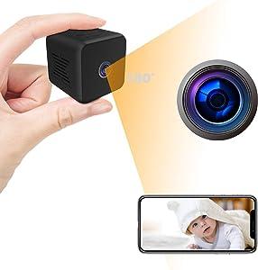 Mini CameraFull HDWiFi Camera,NannyCamwithNightVision SecuritySurveillanceCamerawithPhoneAppforIndoor/Office,32GBSDMemoryCard