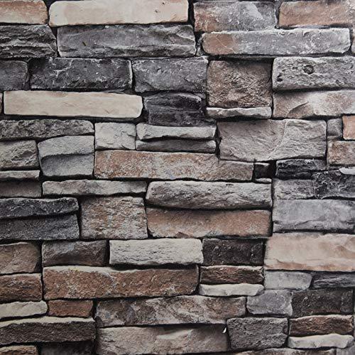 236'x17.7'Stone Wallpaper Peel and Stick 3D Brick Wallpaper Faux Brick Self Adhesive Contact Paper Textured Stone Wallpaper Kitchen Backsplash Vinyl Waterproof Decorative Cover Film