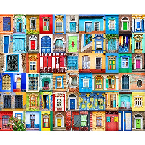 Jigsaw Puzzles 1000 Pieces for Adults Doors and Windows of World Challenging Puzzle Difficult Puzzles Large Puzzle Game Toys Gift 20 x 28 Inches