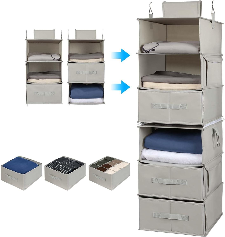 Vailando Seattle Mall Award 6-Shelf Hanging Closet Organizer 3-Shelf H Separable 2