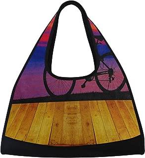 Gym Bag, Sports Duffle Bag Oil Painting Vintage Wooden Sunrise Bike Training Handbag Large Travel Shoulder Tote Bag Tennis Badminton Racket Bag for Men Women