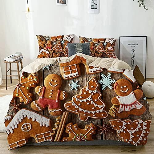 VINISATH Stampato Copripiumino Gingerbread Man gustoso ricerca tradizionale cookie Piccolo Snowflakes Cannella decorativi casa hotel dormitorio set biancheria da letto,200x200cm