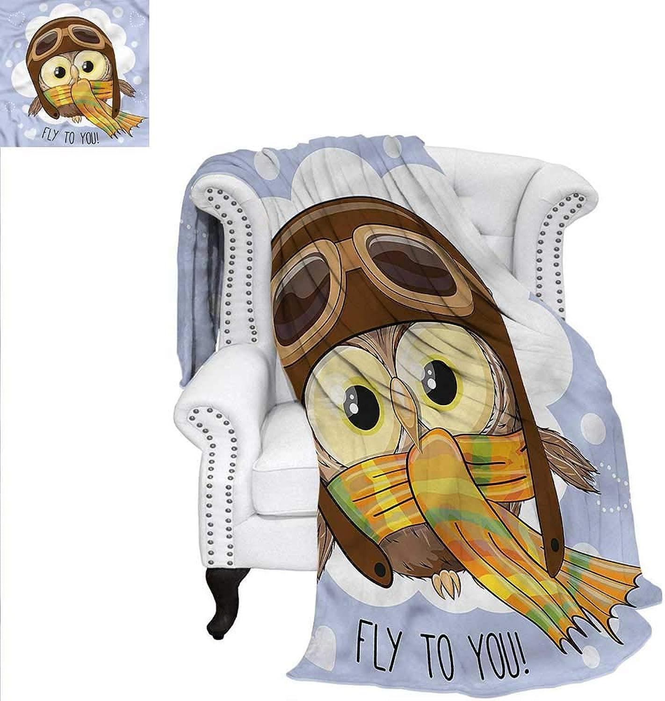 RenteriaDecor Owls Digital Printing Blanket Cartoon Bird in a Pilot Hat Blanket 60 x50