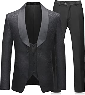 Mens 3 Pieces Tuxedos Vintage Groomsmen Wedding Suit Complete Outfits(Jackets+Vest+Trousers) Prom Formal Tuxedo Suit